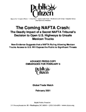 Coming NAFTA Crash: The Deadly Impact of a Secret NAFTA Tribunal's Decision to Open U.S. Highways to Unsafe Mexican Trucks