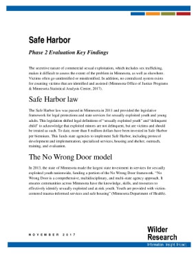 Safe Harbor: Phase 2 Evaluation Key Findings
