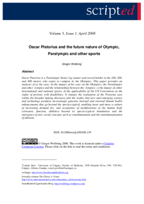 Oscar Pistorius and the Future Nature of Olympic, Paralympic, and Other Sports