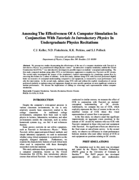 Assessing The Effectiveness Of A Computer Simulation In Conjunction With Tutorials In Introductory Physics In Undergraduate Physics Recitations